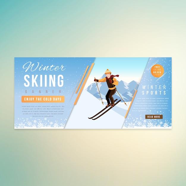 Homem de esqui inverno banner design Vetor Premium