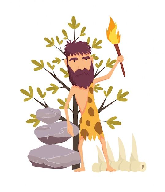 Homem De Idade De Pedra Dos Desenhos Animados Com Tocha Vetor
