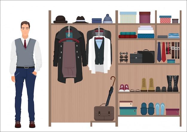 Homem de moda elegante e conceito de guarda-roupa dos homens Vetor Premium