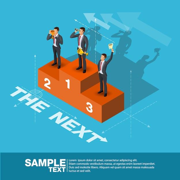 Homem de negócio futuro do gerente da finança do conceito do líder de negócio. Vetor Premium