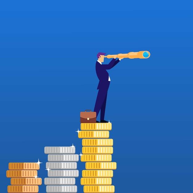 Homem de negócio que olha na oportunidade da busca do telescópio. ilustração do conceito de negócio Vetor Premium