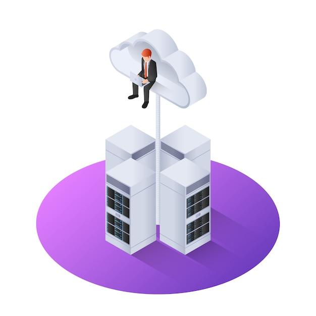 Homem de negócios 3d isométrico com laptop sentado na nuvem Vetor Premium