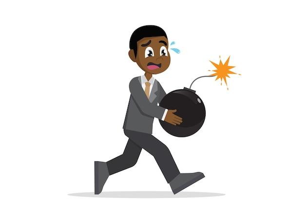 Homem de negócios africano que corre o pânico com bomba. Vetor Premium