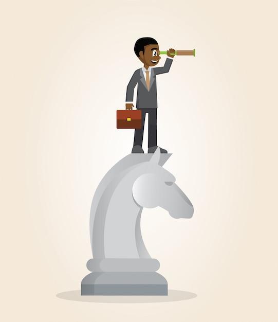 Homem de negócios africano sobre a parte de xadrez do cavalo usando o telescópio que procura o sucesso. Vetor Premium