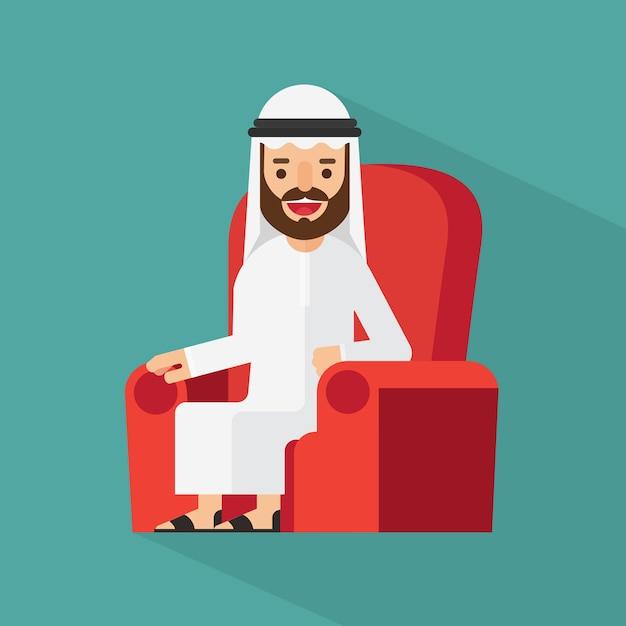 Homem de negócios árabe está sentado no sofá Vetor Premium