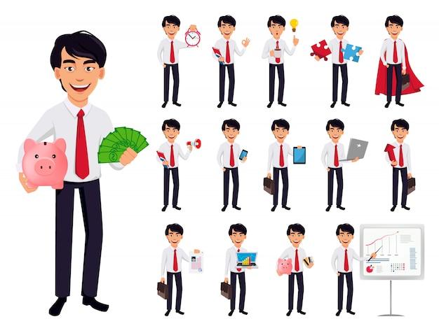 Homem de negócios asiáticos Vetor Premium