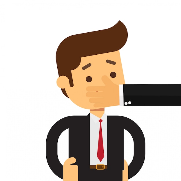 Homem de negócios bateu calar o conceito Vetor Premium