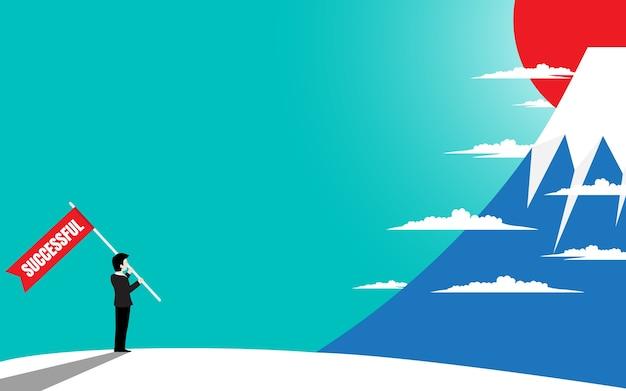 Homem de negócios com bandeira de sucesso, olhar de pé no topo da montanha Vetor Premium