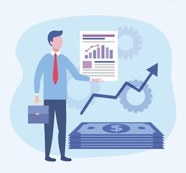 Homem de negócios com informações de documento de barra de estatísticas Vetor grátis