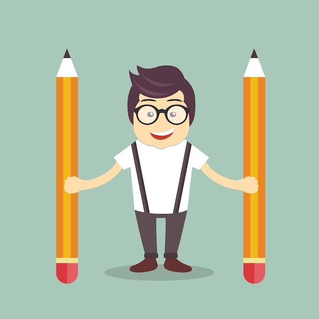 Homem de negócios com lápis Vetor grátis