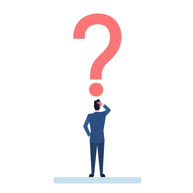 Homem de negócios com ponto de interrogação ponderando o conceito de problema Vetor Premium