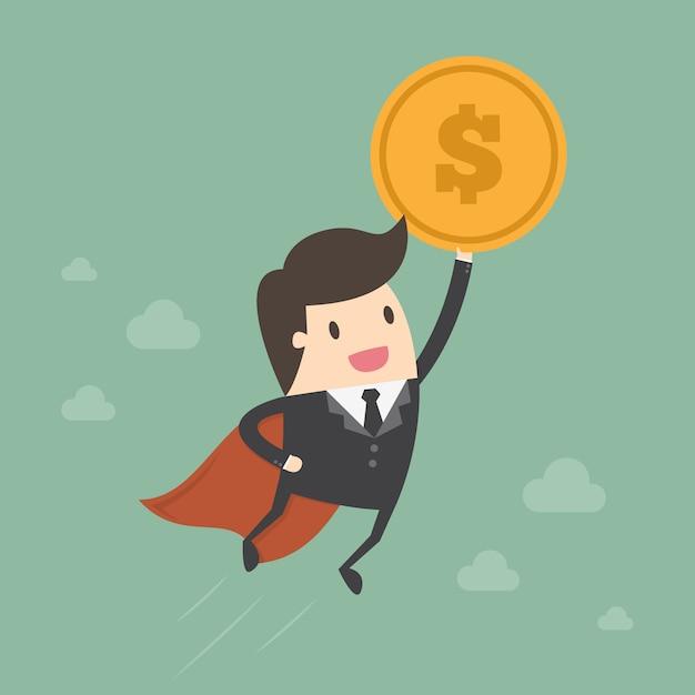 Homem de negócios com um desenho da moeda Vetor grátis