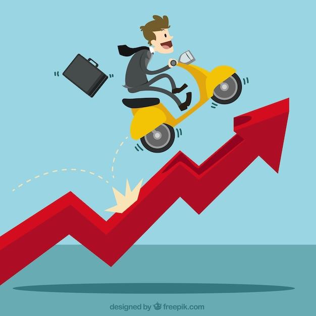 Homem de negócios com uma scooter sobre a carta de crescimento Vetor grátis