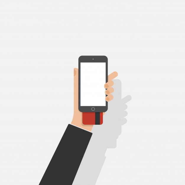 Homem de negócios comprar compras on-line no telefone inteligente Vetor Premium