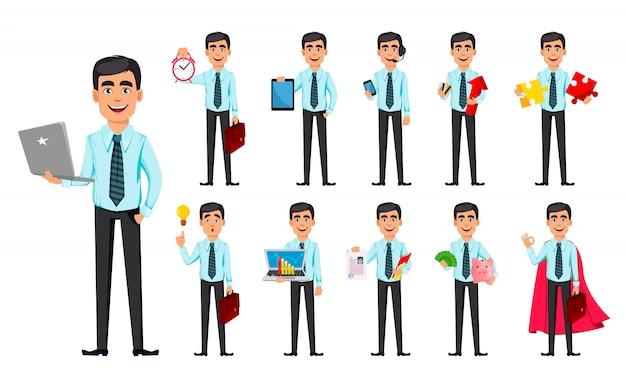 Homem de negócios, conjunto de onze poses Vetor Premium