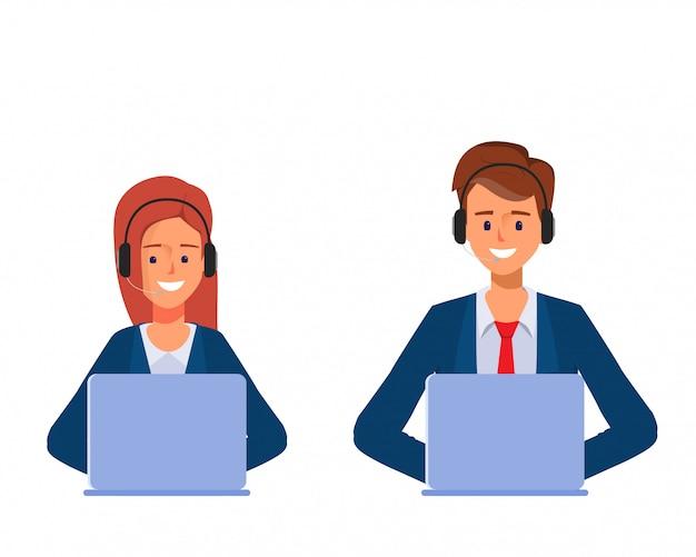 Homem de negócios e mulher de negócios no centro de atendimento ou no serviço ao cliente que trabalha com um portátil. Vetor Premium
