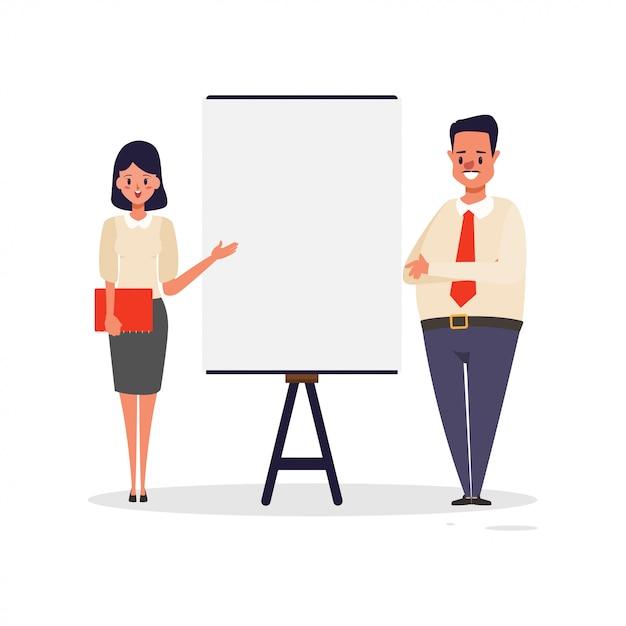 Homem de negócios e quadro de apresentação de mulher. Vetor Premium