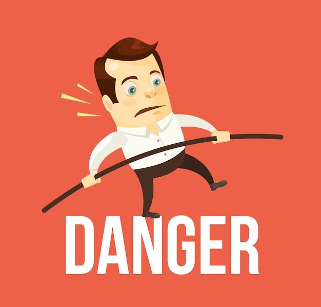 Homem de negócios, equilibrando o perigo. crise de negócios. Vetor Premium