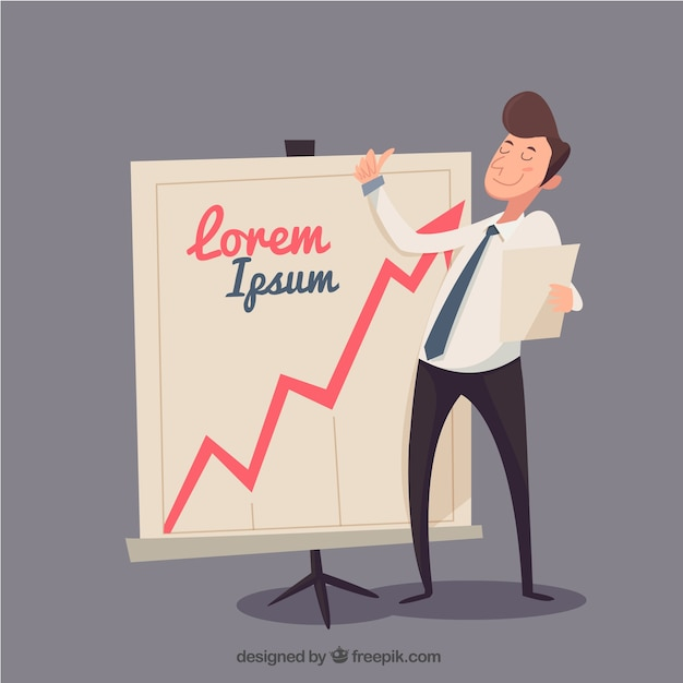 Homem de negócios feliz com o modelo diagrama Vetor grátis