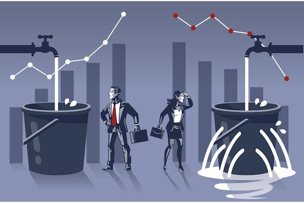 Homem de negócios feliz em ver que seu balde de água está cheio, enquanto a mulher de negócios está triste, seu balde vaza Vetor Premium