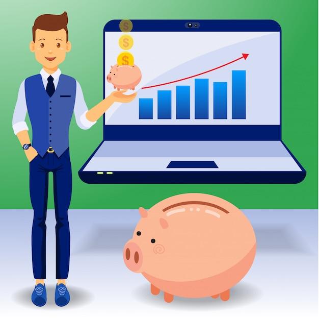 Homem de negócios, ganhar dinheiro, design plano Vetor Premium