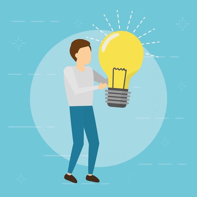Homem de negócios, mantendo a lâmpada. conceito de criatividade, estilo simples Vetor grátis