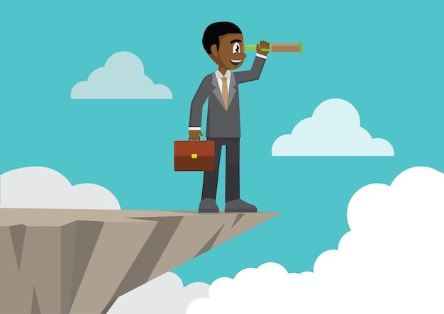 Homem de negócios na montanha da borda do penhasco usando a vista do telescópio. Vetor Premium