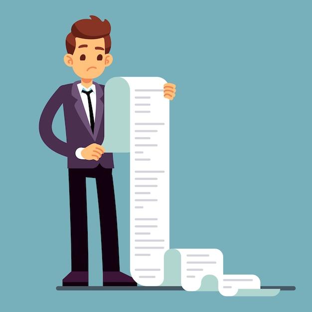 Homem de negócios ou advogado masculino que lê a lista de papel longa. Vetor Premium