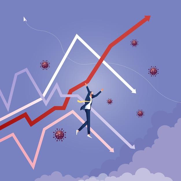 Homem de negócios pendurado no gráfico de flechas para cima Vetor Premium