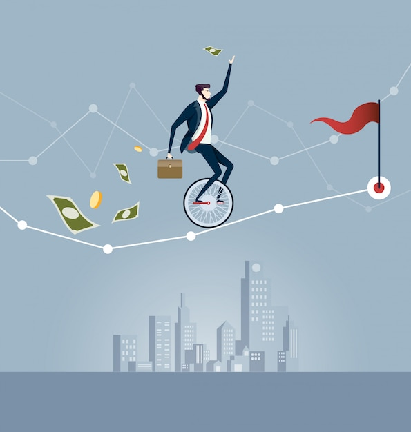 Homem de negócios que equilibra no unicycle que tenta conduzir através da carta de negócio. vetor de conceito de negócio Vetor Premium