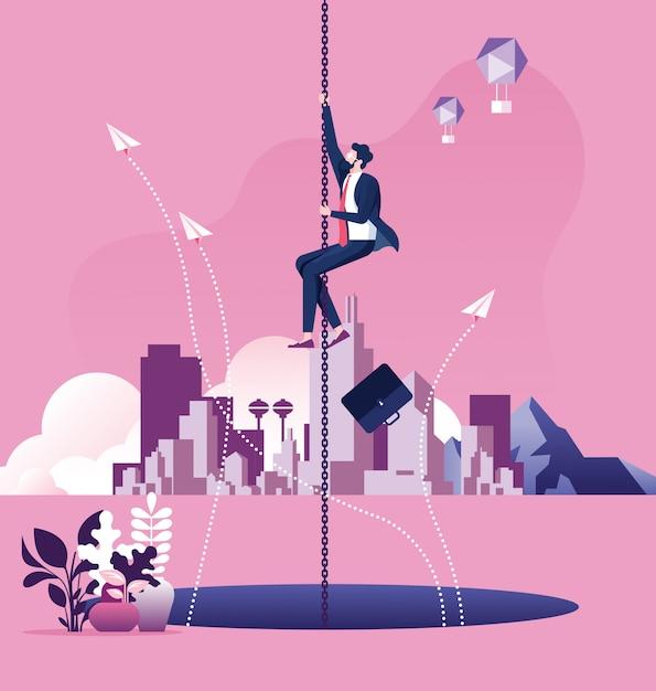 Homem de negócios que pendura em um escape chain acima de um grande furo. conceito de risco de negócio Vetor Premium