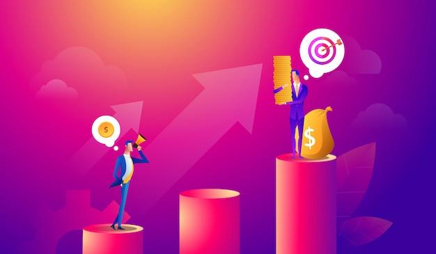 Homem de negócios que procura a oportunidade do investimento que está no gráfico do crescimento de dinheiro. mercado de ações de lucro. conceito de negócio do investidor. ilustração vetorial Vetor Premium
