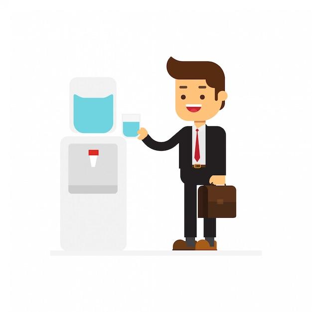 Homem de negócios refrescante quando beber água fria Vetor Premium