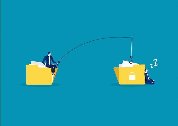 Homem de negócios roubar dados, ataque de hackers na ilustração de arquivo. Vetor Premium