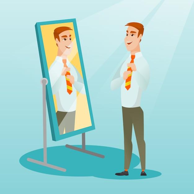 Homem de negócios se olhando no espelho. Vetor Premium