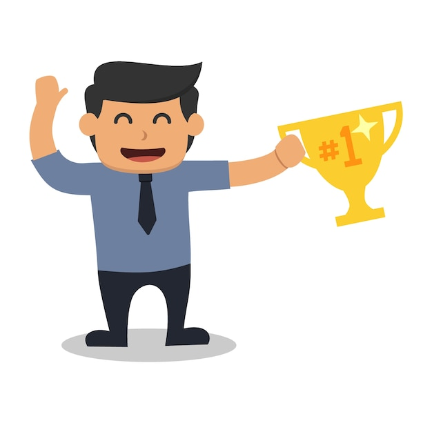 Homem de negócios segurando um troféu isolado no branco Vetor Premium