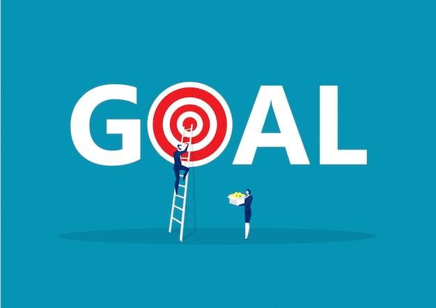 Homem de negócios subindo escadas para realização de objetivos, motivação para o sucesso. ilustração vetorial Vetor Premium