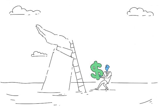 Homem de negócios subir escada segurando o sinal de dólar dinheiro crescimento conceito finanças sucesso Vetor Premium