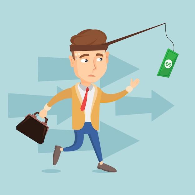 Homem de negócios, tentando pegar dinheiro na vara de pescar Vetor Premium