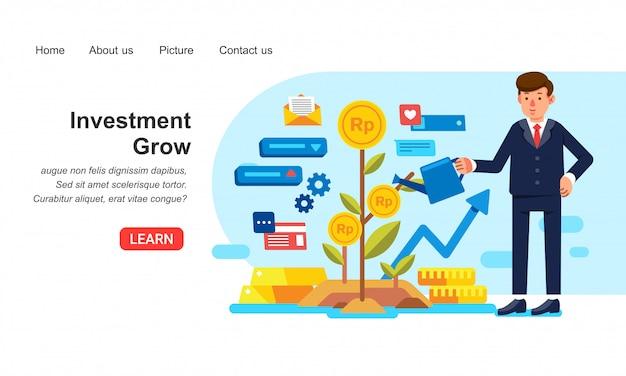 Homem de negócios, trabalhando e aumentando o investimento Vetor Premium