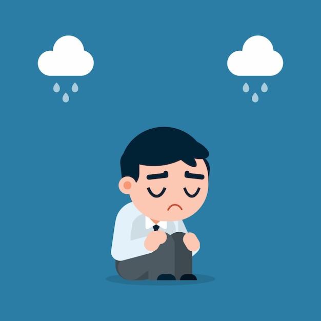 Homem de negócios triste e cansado com a depressão que senta-se no assoalho, ilustração do vetor dos desenhos animados. Vetor Premium