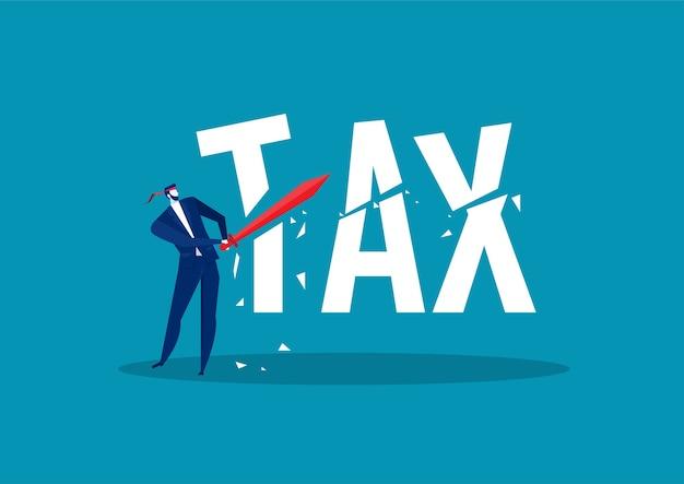 Homem de negócios usando a espada para cortar o conceito de redução de impostos de impostos Vetor Premium