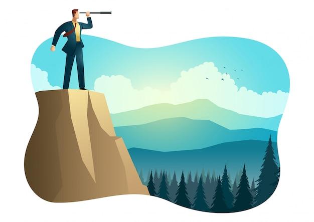 Homem de negócios usando o telescópio no topo da montanha Vetor Premium