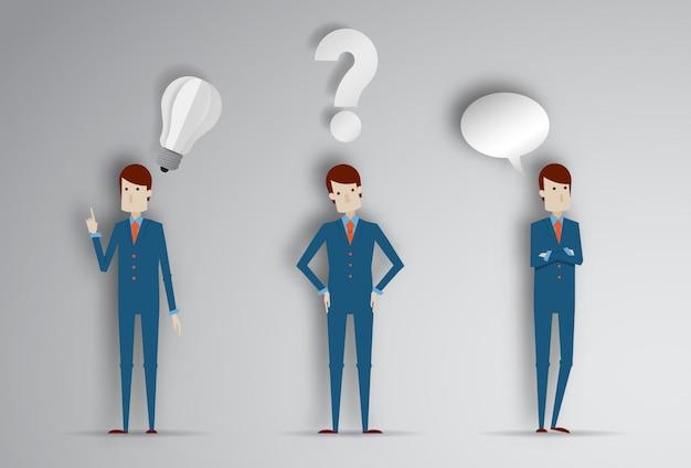 Homem de pensamento com ponto de interrogação e idéia de lâmpada. ilustração em vetor dos desenhos animados do empresário em papel cortado estilo 3d Vetor Premium