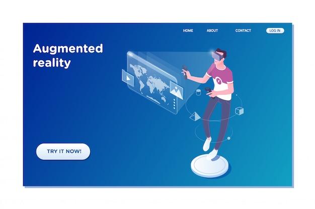 Homem de realidade virtual com display de tecnologia futurista Vetor Premium