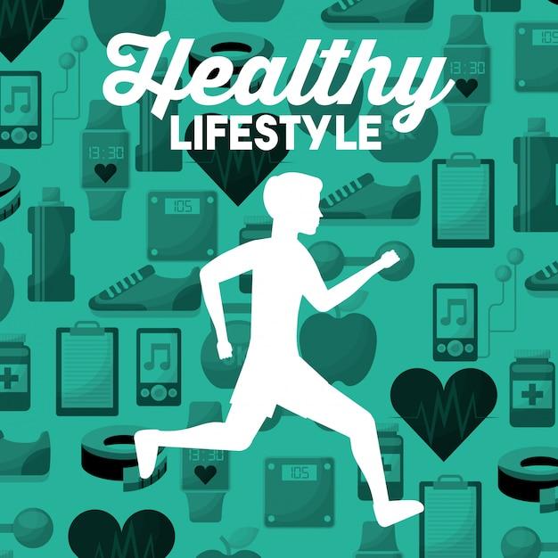Homem de silhueta branca correndo fundo de ícones de esporte estilo de vida saudável Vetor Premium