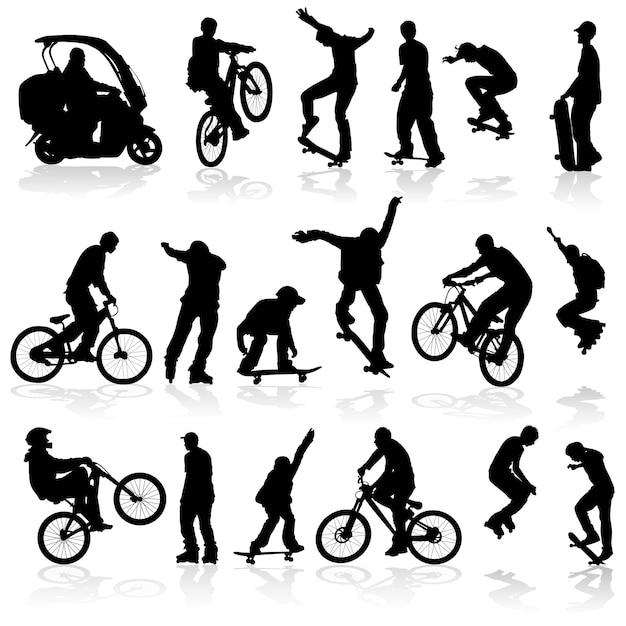 Homem de silhuetas extremas no rolo, bicicleta, scooter, skate Vetor Premium