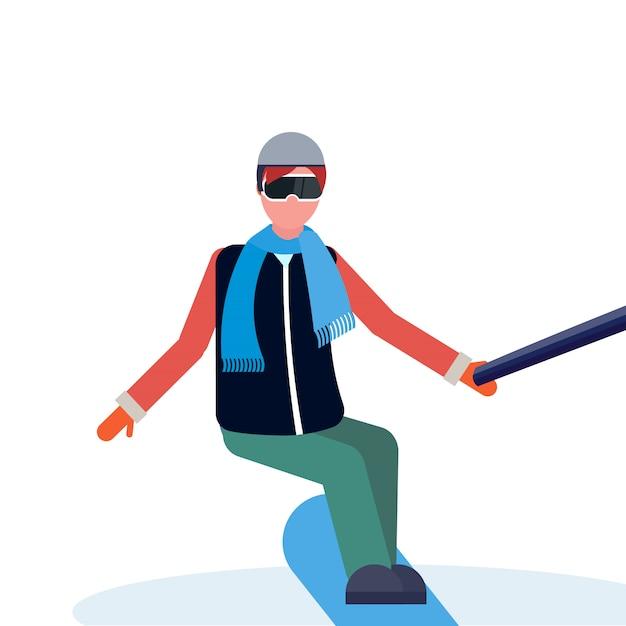 Homem de snowboard Vetor Premium