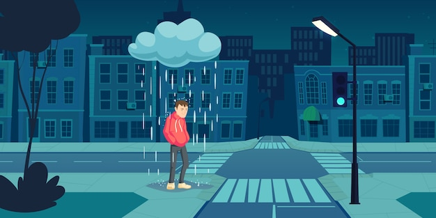 Homem deprimido ficar sob a nuvem com chuva caindo Vetor grátis