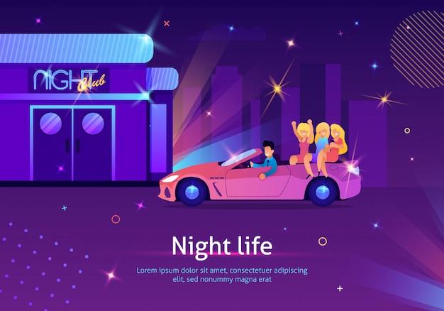 Homem dirigindo cabriolet com mulheres loiras para o clube. Vetor Premium